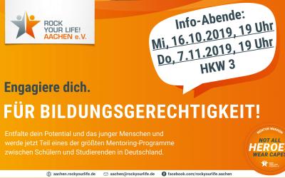 Info-Abende für Studierende am 16.10.2019 und 07.11.2019, 19 Uhr